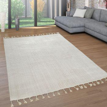 Retro Teppich Beige Creme Wohnzimmer Weich Fransen Abstraktes Design 3-D Muster – Bild 1