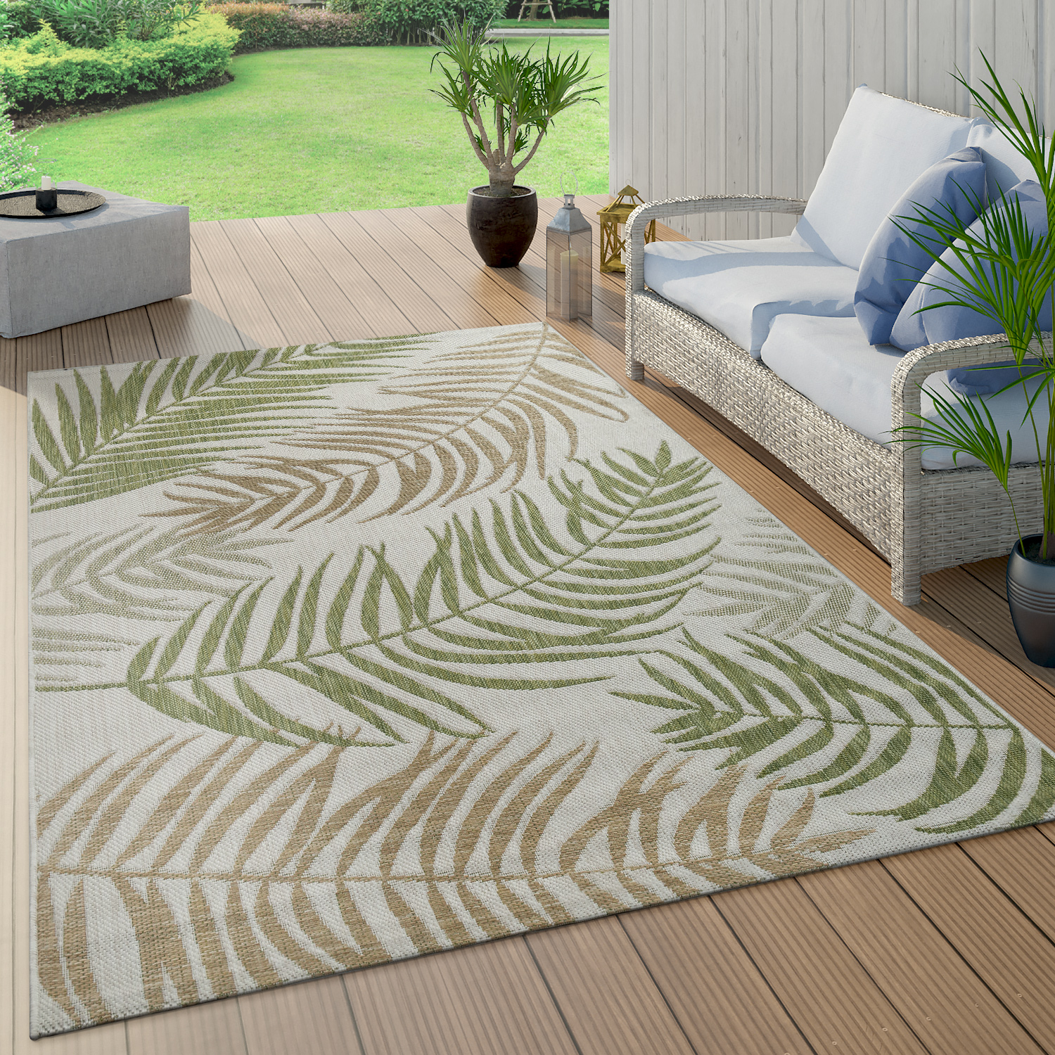 Indoor & Outdoor Rug Flat-Weave Modern Jungle Palm Trees Design In Pastel Green