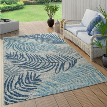Indoor And Outdoor Rug Palm Trees Design Blue