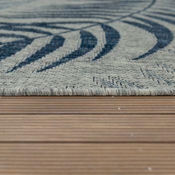 Indoor & Outdoor Rug Flat-Weave Modern Jungle Palm Trees Design In Pastel Blue   – Bild 2