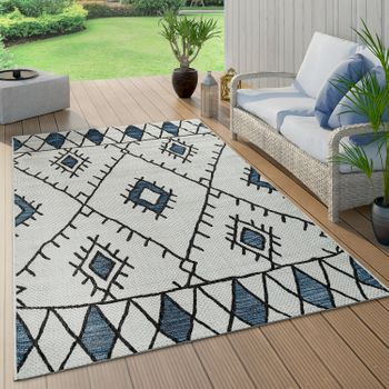 Indoor And Outdoor Rug Ethnic Design Blue