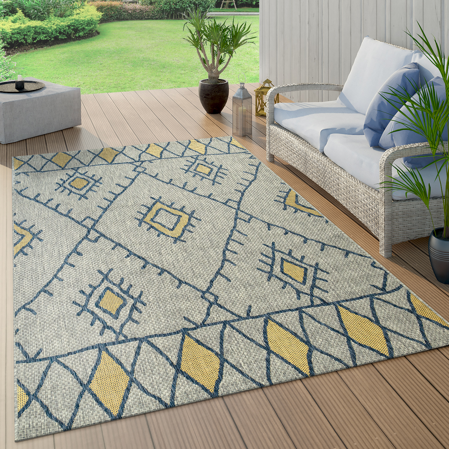 Indoor & Outdoor Rug Flat-Weave Geometric Abstract Diamond Design Ethnic Blue