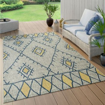 Indoor & Outdoor Rug Ethnic Design Yellow