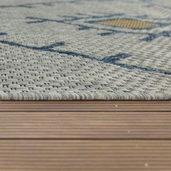 Indoor & Outdoor Rug Flat-Weave Geometric Abstract Diamond Design Ethnic Blue  – Bild 2