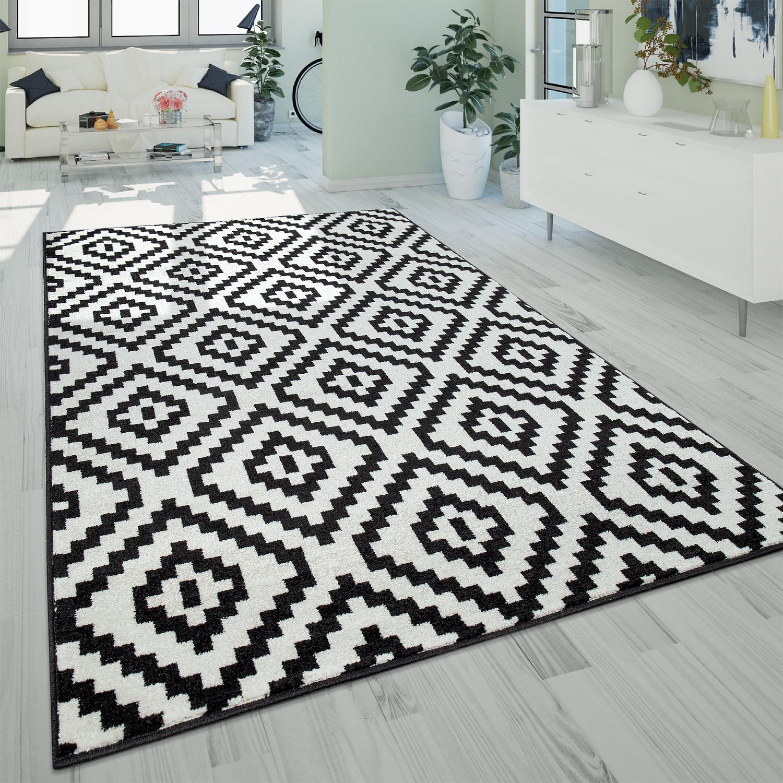 Details zu Kurzflor Wohnzimmer Teppich Modern 3D Geometrisches Rauten  Muster Schwarz Weiß