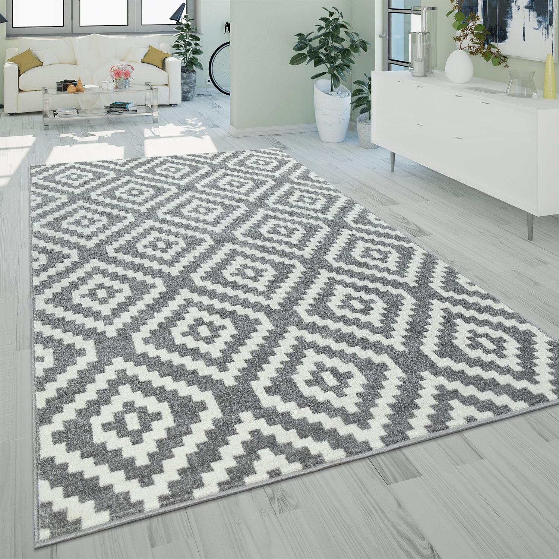 Ethno-Teppich Rauten-Muster Grau Weiß | Teppich.de