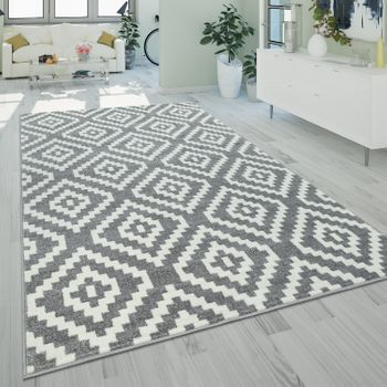 Short-Pile Rug Ethnic Pattern Grey White