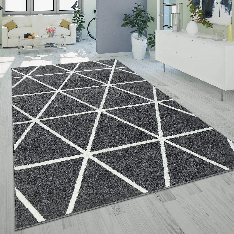 kurzflor teppich rauten muster grau anthrazit. Black Bedroom Furniture Sets. Home Design Ideas