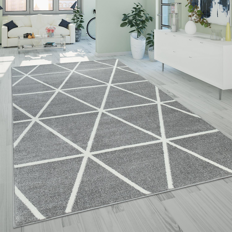 Details zu Kurzflor Wohnzimmer Teppich Modern Geometrisches Design Rauten  Muster In Grau