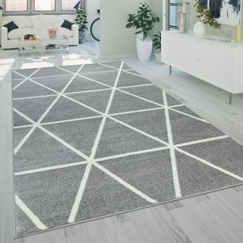 Short-Pile Rug Diamond Pattern Grey