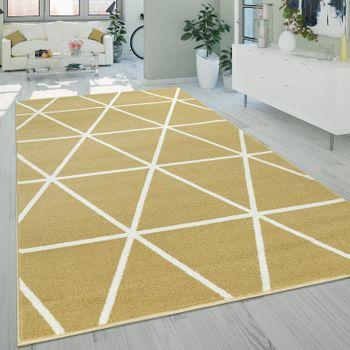 Short-Pile Rug Diamond Pattern Yellow