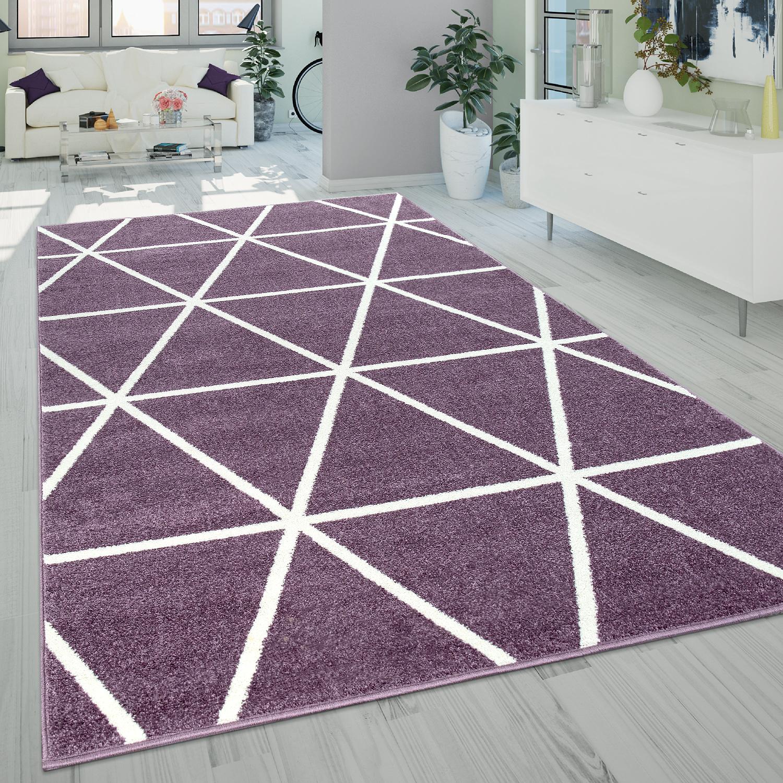 Kurzflor-Teppich Rauten-Muster Lila