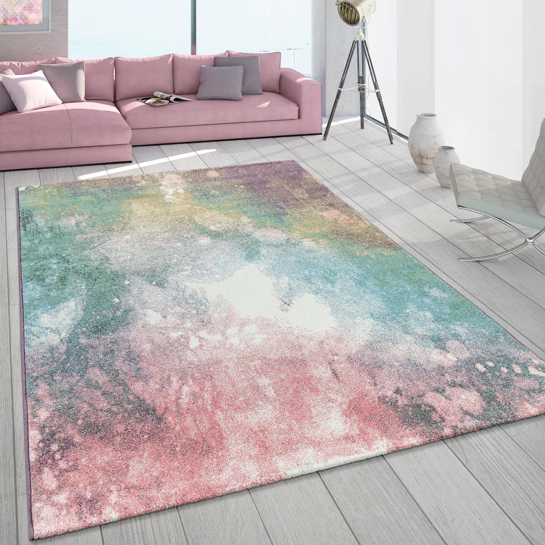 Short Pile Living Room Rug Colourful