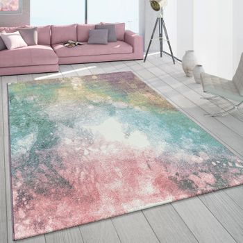 Short-Pile Living Room Rug Colourful Modern Galaxy Design Pastel Colours Multi-Coloured – Bild 1