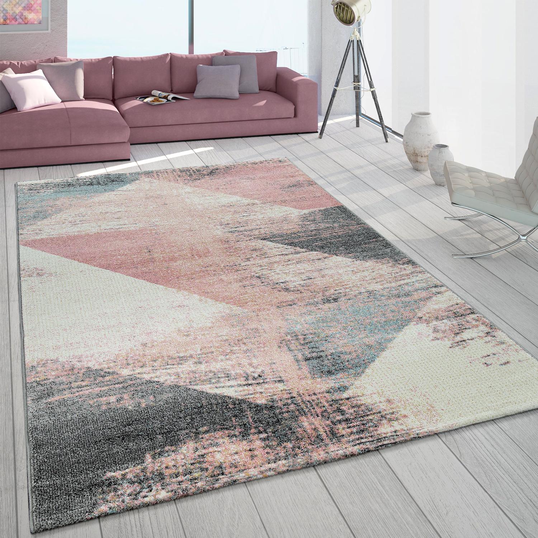 Details zu Teppich Wohnzimmer Modern In Grau Weiß Rosa Pastell Dreieck  Muster Vintage Look