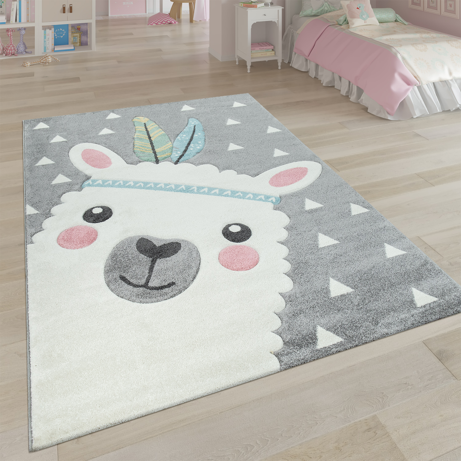 Children's Rug Children's Room 3D Effect Cute Alpaca Design Pastel Shades In Grey