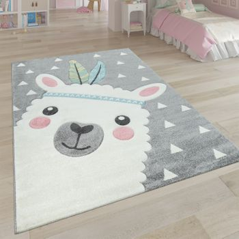 Children's Rug Children's Room 3D Effect Cute Alpaca Design Pastel Shades In Grey – Bild 1