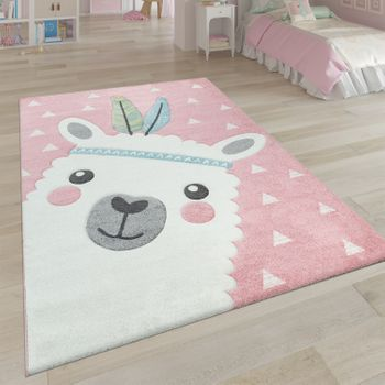 Short-Pile Children's Room Rug Alpaca Pink