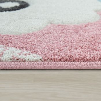 Children's Rug Children's Room 3D Effect Cute Alpaca Design Pastel Shades In Pink – Bild 2