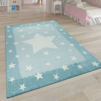 Children's Rug Children's Room Rug 3D Cute Border In The Stars Design In Pastel Blue – Bild 1