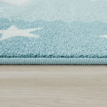 Children's Rug Children's Room Rug 3D Cute Border In The Stars Design In Pastel Blue – Bild 2