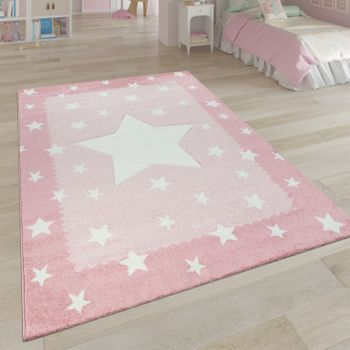 Short-Pile Children's Room Rug Star Design Pink