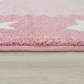 Children's Rug Children's Room 3D Cute Border In The Stars Design In Pastel Pink – Bild 2
