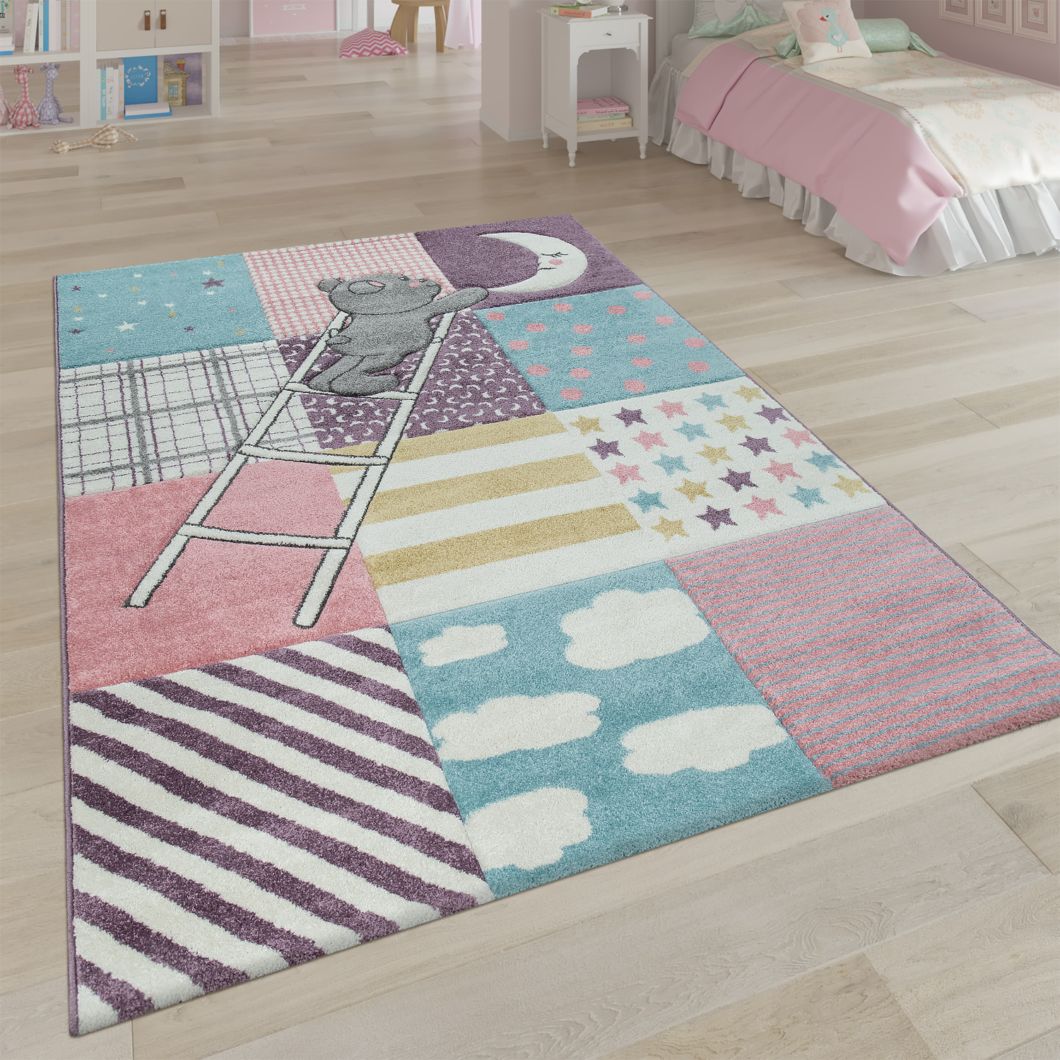 Children's Rug Children's Room 3D Cute Patchwork Bear Moon Star Ladder In Pink