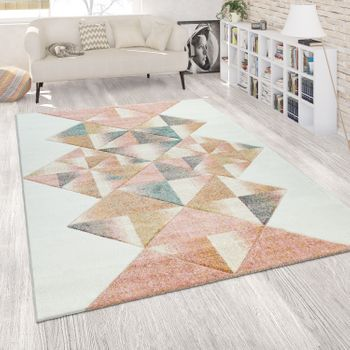 Short-Pile Rug Abstract Geometric Multi-Coloured