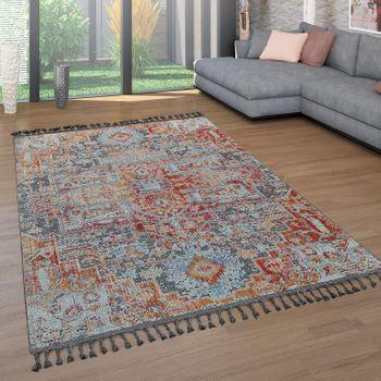 Kurzflor-Teppich Orient-Design Bunt
