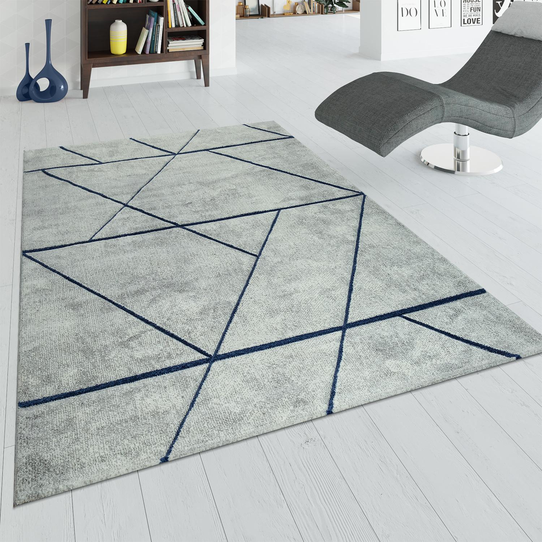kurzflor teppich marmor design grau blau teppichcenter24. Black Bedroom Furniture Sets. Home Design Ideas