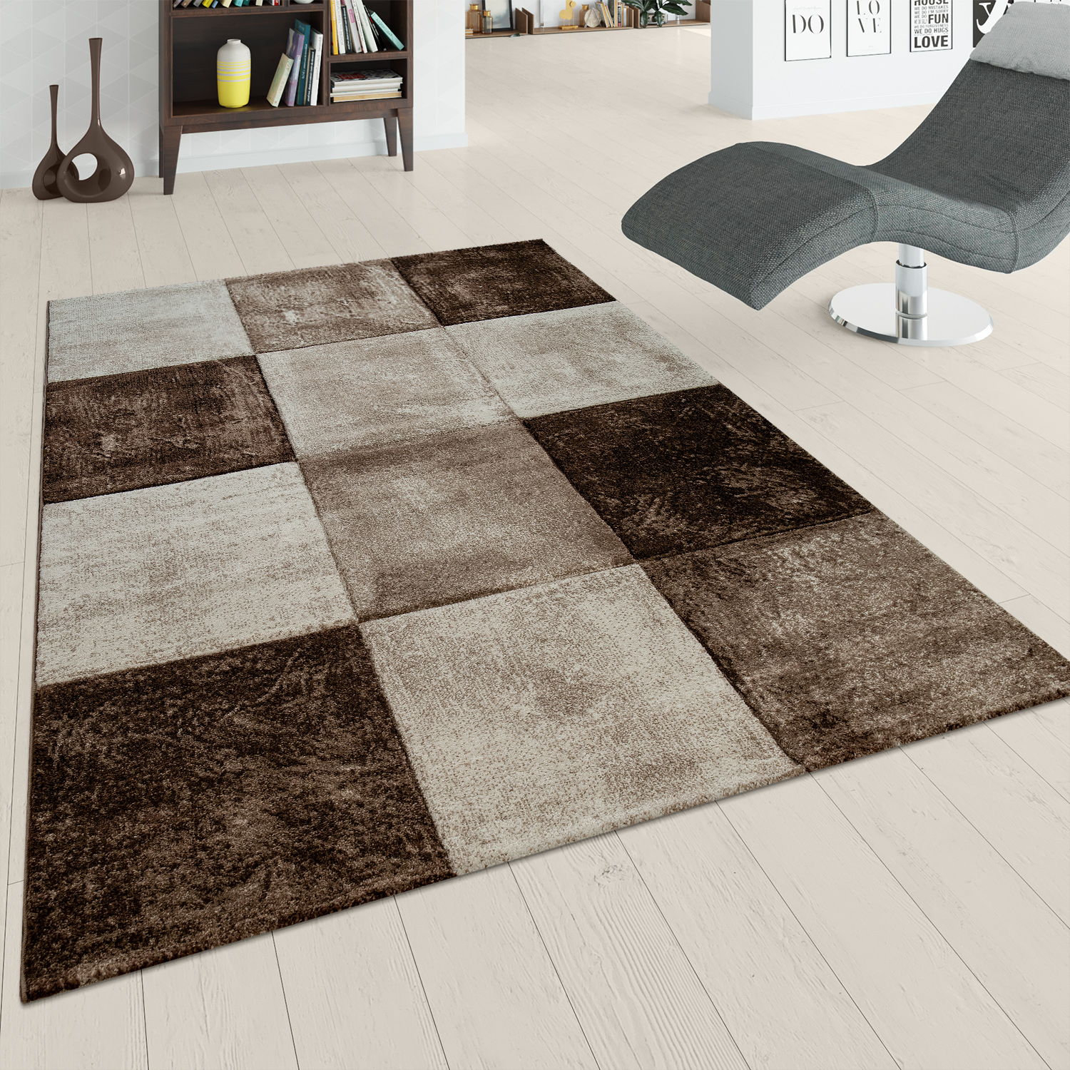 Tapis À Poils Ras Design Carreaux Marron