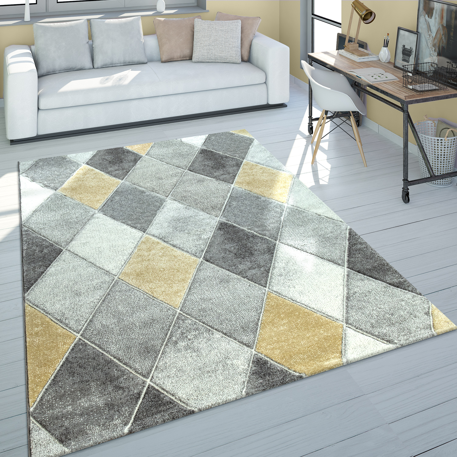 Short Pile Rug Diamond Pattern Yellow Grey