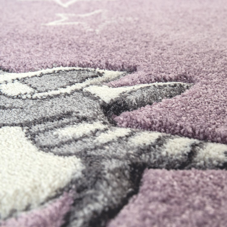 Kinderteppich 3-D-Design Einhorn Lila