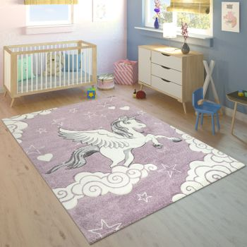 Children's Rug 3D Unicorn Purple