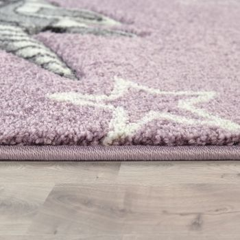 Children's Room Rug Cute Pastel Colours Unicorn Hearts Cloud Motif In Purple – Bild 2