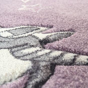 Kinderzimmer Teppich Lila Pastellfarben Einhorn Design Herzen Wolken Motiv Weich – Bild 3