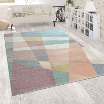 Modern Living Room Short-Pile Rug Used Effect Geometric Design Abstract Colourful  – Bild 1