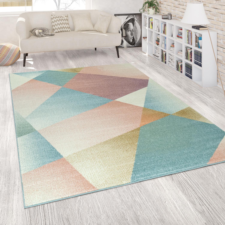 Modern Living Room Short-Pile Rug Geometric Design Pastel ...