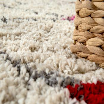 Teppich Bunt Beige Shaggy Flauschig Ethno Design Hochflor Punkte Rauten Muster – Bild 3
