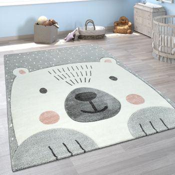 Children's Room Rug Cute Short-Pile Cheerful Bear 3D Modern In Grey White – Bild 1
