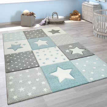 Children's Rug Check Pattern Stars Blue