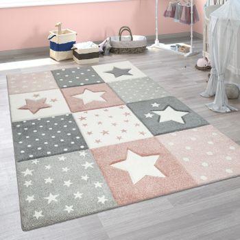 Children's Rug Check Pattern Stars Pink