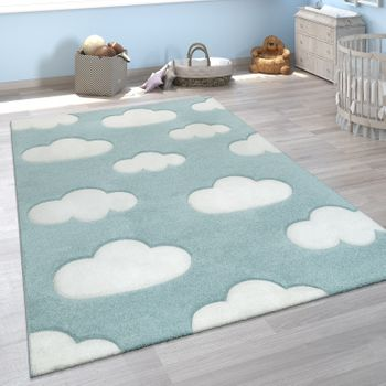 Children's Rug 3D Cloud Pattern Blue