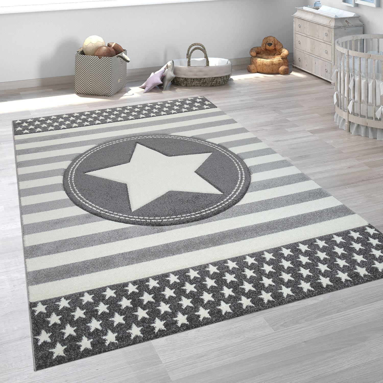 Children's Room Rug Short-Pile Geometric Pattern Pastel Star Design In Grey