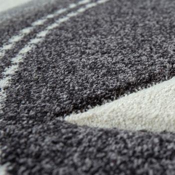 Children's Room Rug Short-Pile Geometric Pattern Pastel Star Design In Grey – Bild 3