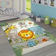Short-Pile Children's Rug Jungle Animals Green 001