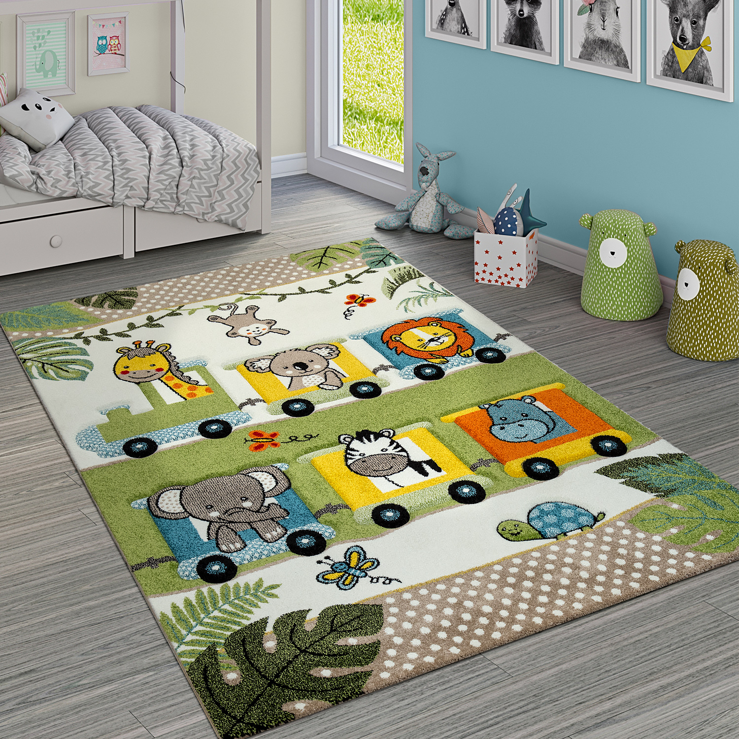 Tapis Enfant À Poils Ras Animaux Jungle Locomotive Vert