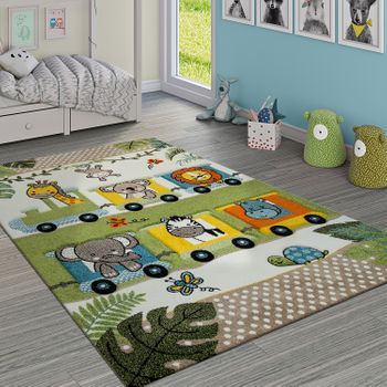 Short-Pile Children's Rug Jungle Animals Locomotive Green