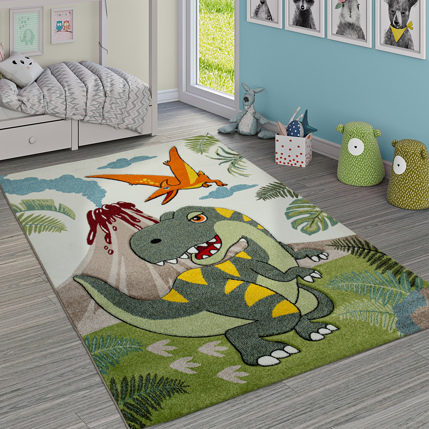 Children´s Room Rug Cute Dinos Jungle Volcano 3-D Effect Short-Pile Green